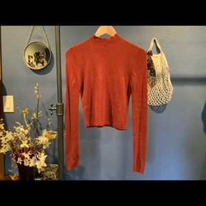 Rust mock neck fitted sweater